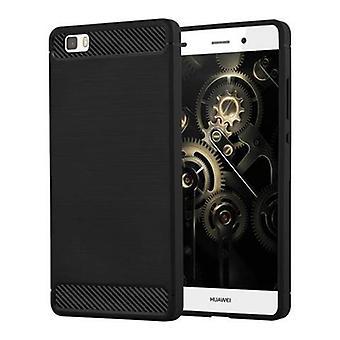 Cadorabo tilfelle for Huawei P8 LITE 2015 - Tilfelle i børstet svart - telefonveske laget av TPU silikon i rustfritt stål karbonfiberoptisk - silikon etui beskyttende sak ultra slank myk bakdeksel tilfelle støtfanger