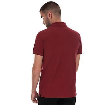 Mens Timberland Rivers Jacquard Polo Shirt In Red- Short Sleeve - Ribbed Collar