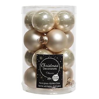 16 3.5cm Pearl Ivory Glass Christmas Tree Bauble Decorations