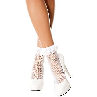 Fishnet Ankle Socks With Lace And White