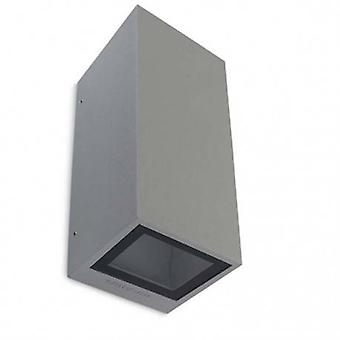 2 Light Outdoor Up Down Wall Light Grey Ip65