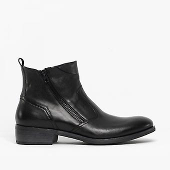 Machete Weston Mens Leather Zip Up Ankle Boots Black