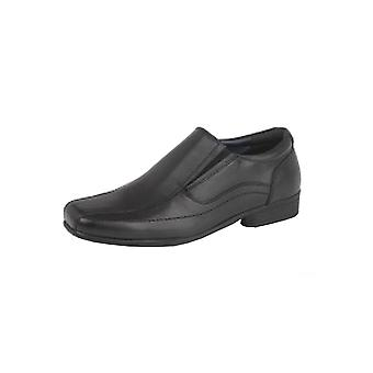 Roamers Childrens/jongens lederen Twin Gusset school schoenen