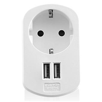 Vägguttaget med 2 USB-portar Ewent EW1211 3,1 A