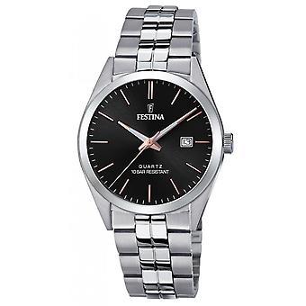 Festina F20437-C Uhr - CLASSIC Steel Silver Black Herrenzifferblatt