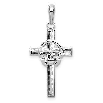 14k White Gold Block Cross Avec Claddagh Center High Polonais et Textured Bijoux Cadeaux pour les femmes