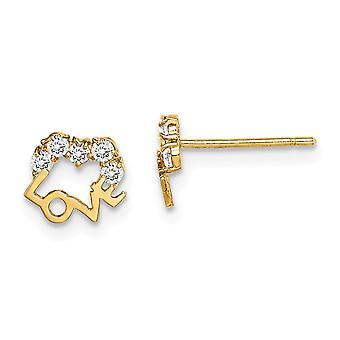 14k Madi K CZ Cubic Zirconia Simulated Diamond Love Post Earrings Jewelry Gifts for Women