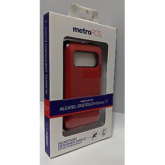 Metro PCS Kickstand Designer Case for Alcatel OneTouch Evolve 2 - Red/Black