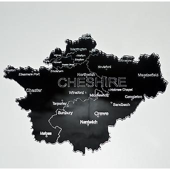 County Map of CHESHIRE UK Engraved Acrylic Mirror