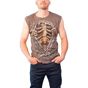 Spiral Direct Mens T Shirt Grey Super Bad Carved Ribcage Metal Gothic Sleeveless