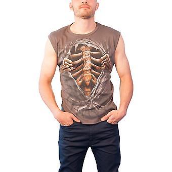 Spiral Direct Mens T Shirt Grey Super Bad sculptate Ribcage metal gotic fără mâneci