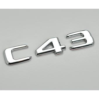 Silver Chrome C43 Flat Mercedes Benz Car Model Rear Boot Number Letter Sticker Decal Badge Emblem For C Class W202 W203 W204 W205 AMG