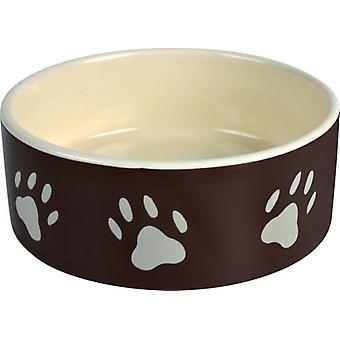 Trixie Ceramic Feeder, Footprints, Brown / Cream