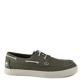 تيمبرلاند الرجال & ق الاتحاد وارف الأخضر الداكن قماش قارب الأحذية