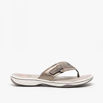 Earth Spirit Eloy Ladies Leather Toe Post Sandals Platinum