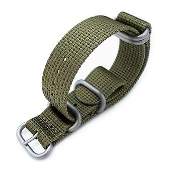 Strapcode n.a.t.o watch strap miltat 20mm, 22mm or 24mm 5 rings g10 zulu water repellent 3d nylon, military green, brushed