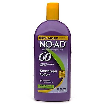 No-ad zonnebrand lotion, waterbestendig, spf 60, 16 oz