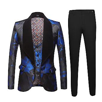 Allthemen Men's Printed Suit 1 Button Shawled Lapel Suit Jacket Vest Pants