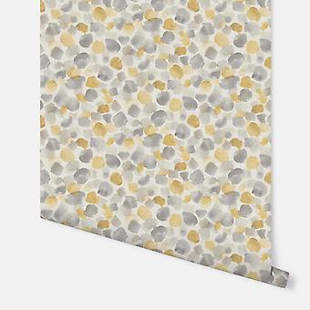 676200 - Painted Dot Mosterd Geel - Arthouse Behang