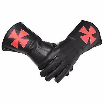 Masonic regalia knight templar black gauntlets red cross soft leather gloves