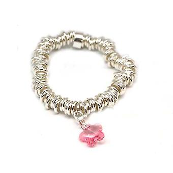 TOC Sterling Silver Candy Bracelet With Charm Made With Pink Swarovski Crystals