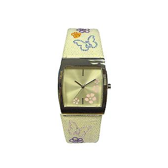 Elfenbeinfarben Blumen Fabric Strap Damen Fashion Watch P13528-12