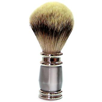 Gold roof shaving brush with badger silver tip, grey synthetic resin handle