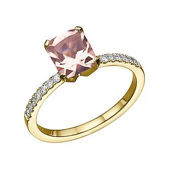 14K Gelb Gold 3.14 CTW natürliche Pfirsich/Pink VS Morganit Ring mit Diamanten Smaragd Classic einzigartige
