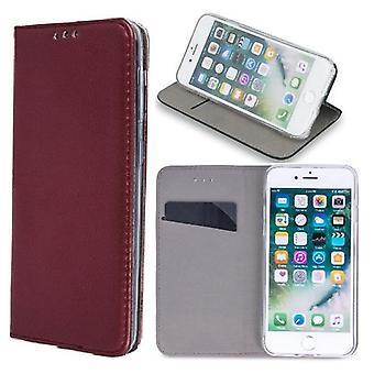 iPhone 11-älykäs magneettinen mobiili lompakko-viininpunainen