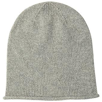 Johnstons of Elgin Cashmere Roll Trim Jersey Beanie - Silver