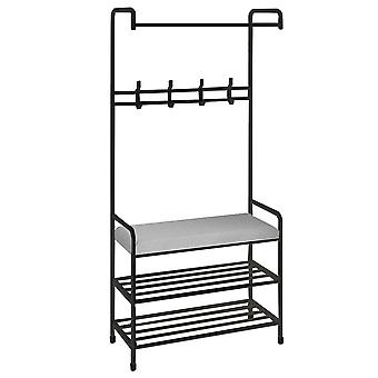 Clothes rack, with 2 layers of storage space, simple clothes rack with cushions, independent and practical bedroom furniture