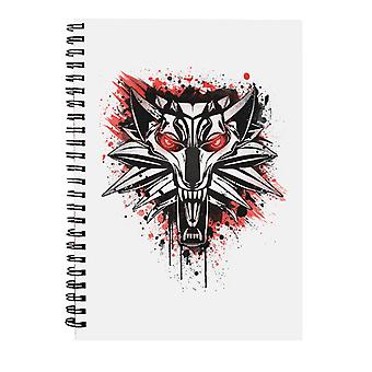 Splatter White Wolf Spiral Notebook