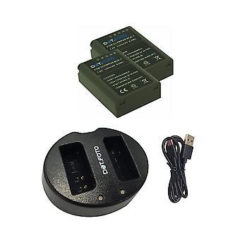 Dot.Foto BLN-1 erstatningbatteri (2-pack) og rask dual USB-lader for Olympus [Se beskrivelse for kompatibilitet]