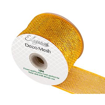 Metallic Gold 6cm x 10m Deco Mesh Roll for Wreath Making, Floristry & Crafts