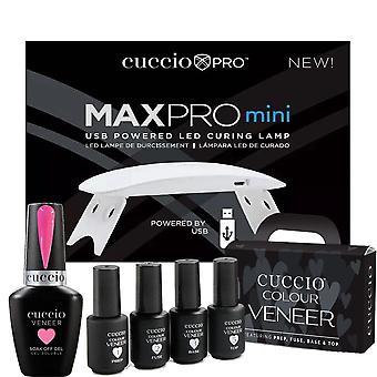 Cuccio Colour Veneer Professional - Kit di CuraTura Polacca Gel Sorbetto Arcobaleno - Sorbetto al Drago 13ml, Lampada di Cura USB & Mini - Set 8