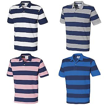 Front Row Mens Striped Pique Polo Shirt