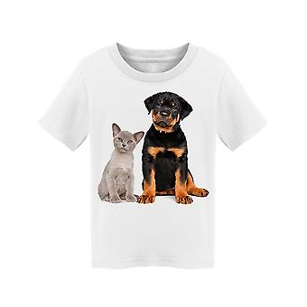 Cat And Dog Posing For Photo Tee Toddler's -Image by Shutterstock