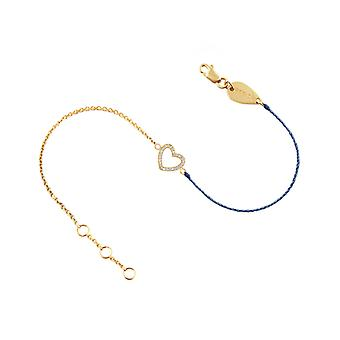 Bracelet Heart 18K Gold and Diamonds, on Half Thread Half Chain - Yellow Gold, BlueJean