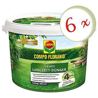 Sparset: 6 x COMPO Floranid® Pitkäaikainen nurmikkolannoitetta, 4,5 kg