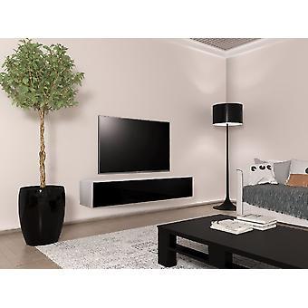Mobile TV Tallinn Farbe weiß opak, schwarz glänzend in Chip, MDF 160x40x30 cm