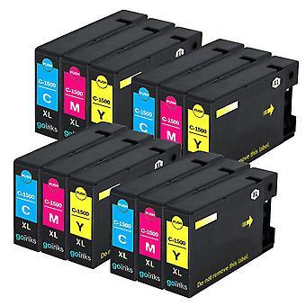 4 C/M/Y Set di 3 cartucce di inchiostro per sostituire Canon PGI-1500XL compatibile/non OEM da Go Inks (12 inchi)
