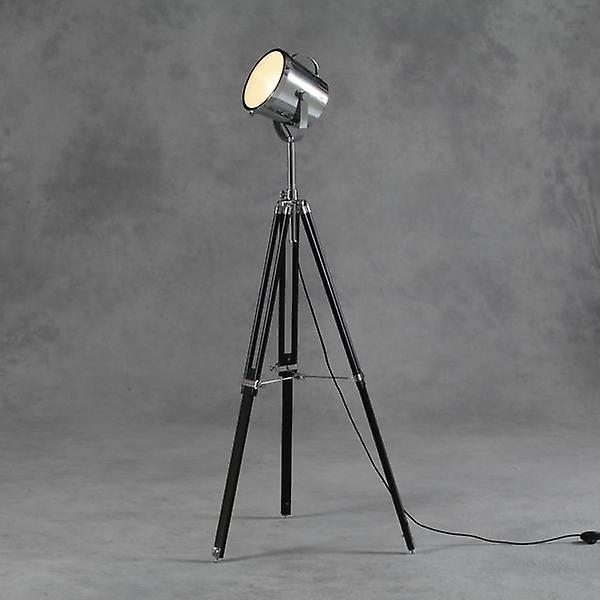 Lampe de plancher de trépied de Victoria en noir et chrome