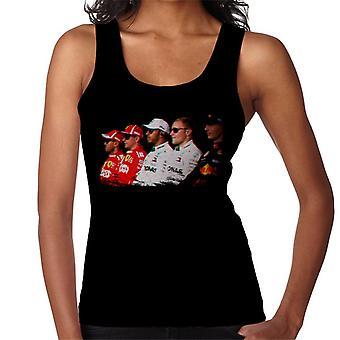Motorsport Images Vettel Raikkonen Hamilton Botta & Verstappen Line Up Abi Dhabi GP Women's Vest