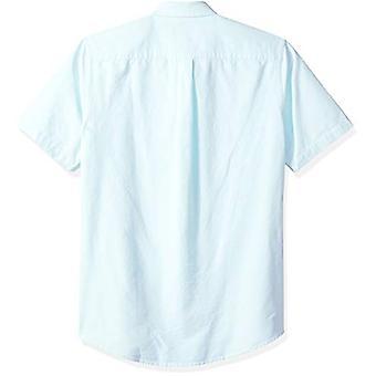 أساسيات الرجال & apos;ق سليم صالح قصيرة الأكمام جيب قميص أكسفورد, أكوا, كبيرة