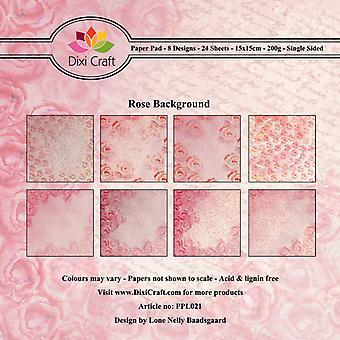 Dixi Craft Rose Bakgrund 6x6 Tums Papperspaket