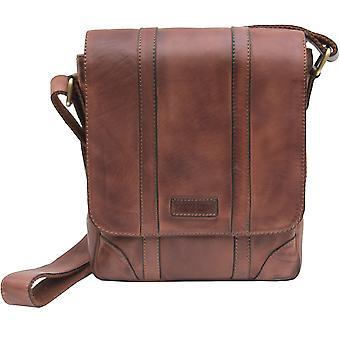 Primehide Mens Small Leather Messenger Bag Shoulder Tablet Man Bag Gents 673