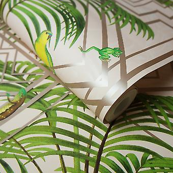 Holden Decor Congo Bold Glasshouse Tropical Jungle Butterfly Snake  Pink Wallpaper