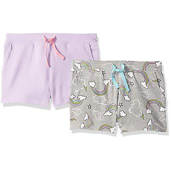 Brand - Spotted Zebra Girls' Little Kid 2-Pack French Terry Knit Short...