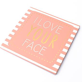 Wooden Coaster With I Love Your Face Printed Text