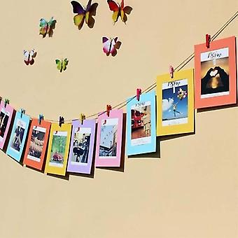 Color Combination Paper Photo Frame 10pcs With Clips Wall Photo Hanging Picture Diy Photo Album Home Decoration